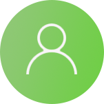 Circle with person icon representing elderly folks who now have a tool to communicate with doctors and their family