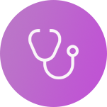 Circle with stethoscope icon to represent the needs of a clinician to track care plans and patient recovery