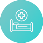 Circle with hospital bed icon to make image of patients that may feel lonely in hospital rooms, that are now able to communicate with family
